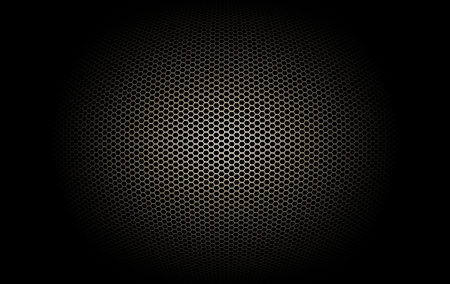 mesh texture: part of microphone and loudspeaker. black and gold curve metallic mesh background texture.