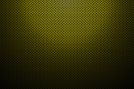 grid background: spotlight on yellow metallic mesh background.
