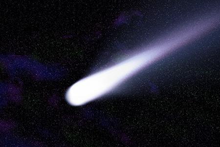カラフルな星雲のある空間の青い彗星 写真素材