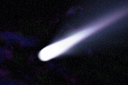 blue comet on the space with colorful nebula