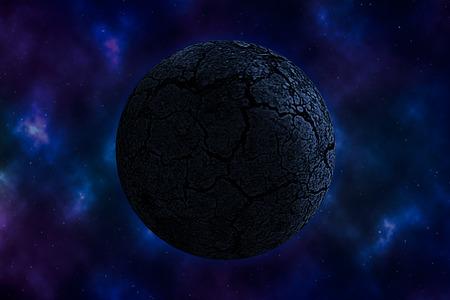 nebula: arid planet on space with colorful nebula