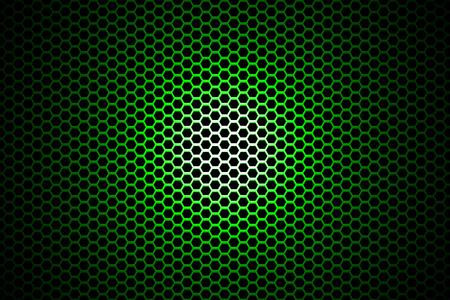 illuminated: spotlight on green metallic mesh background.
