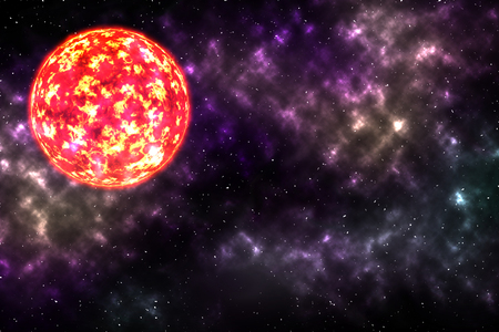 red sun: the red sun burned among colorful nebula and star on the universe.