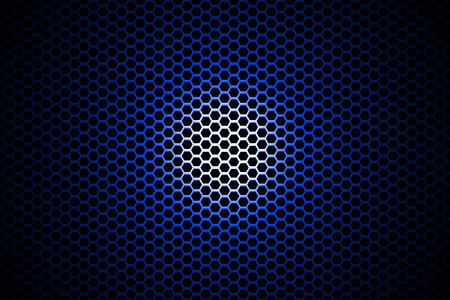 blue metallic background: spotlight on blue metallic mesh background. Stock Photo