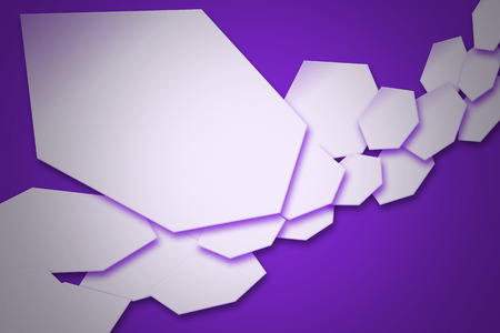 white wave: white hexagons wave and purple shadow. geometric background design for your business.