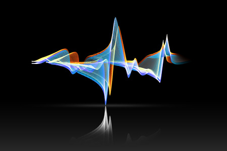 volume glow light: colorful sound wave with reflex on black background. Stock Photo