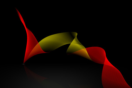 reflex: golden and red ribbon with reflex on black background. Stock Photo