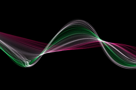 pink and black: pink, green and white fabric abstract wave on black background