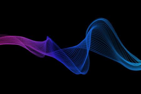purple swirl: blue and purple swirl wave on black background