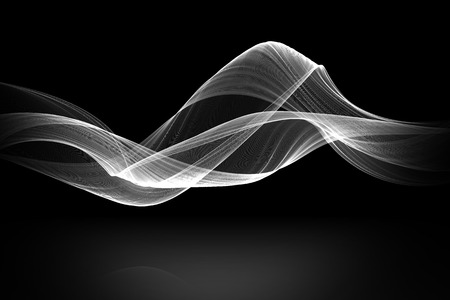 white wave: white fabric wave with reflex on black background.