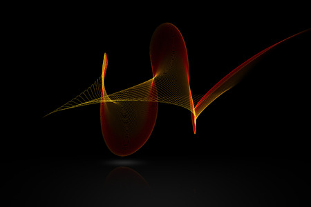 volume glow light: red abstract sound wave with reflex on black background for logo or symbolic design. Stock Photo