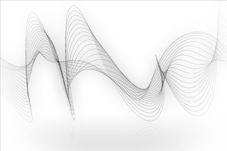 white wave: black line smooth wave on white background