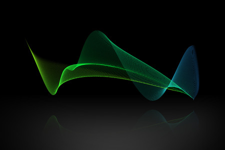 reflex: colorful abstract wave with reflex on black background. Stock Photo
