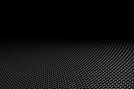 kevlar: curve metallic mesh on black background. monochrome color. for web or printing background design. Stock Photo