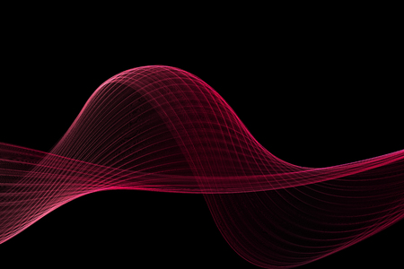 pink and black: pink fabric abstract wave on black background Stock Photo