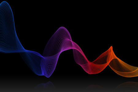 reflex: colorful swirl wave with reflex on black background