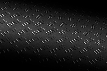 black shadow: monochrome curve diamond plate with lighting and drop of paint on black shadow background. Stock Photo