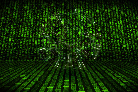 hexadecimal: The green alphanumeric code background with lighting of circle.  This picture suitable for business and technology use.