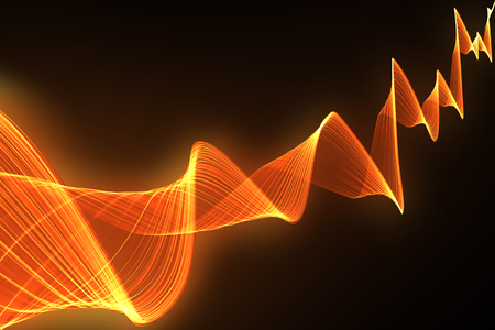 volume glow light: red sound wave with blurred shadow on black background. Stock Photo