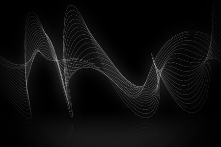 white wave: white line smooth wave on black background