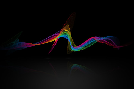 reflex: colorful abstract net wave with reflex on black background.