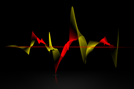 red sound: golden and red sound wave on black background Stock Photo