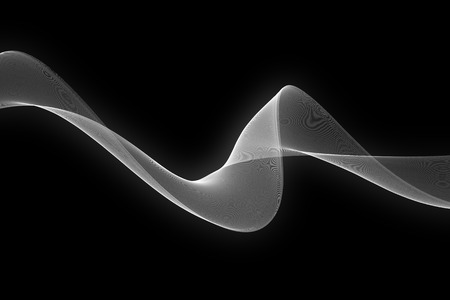 white wave: white glow fabric abstract wave on black background. Stock Photo