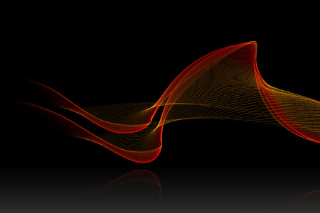 reflex: red abstract sound wave with reflex on black background for logo or symbolic design. Stock Photo
