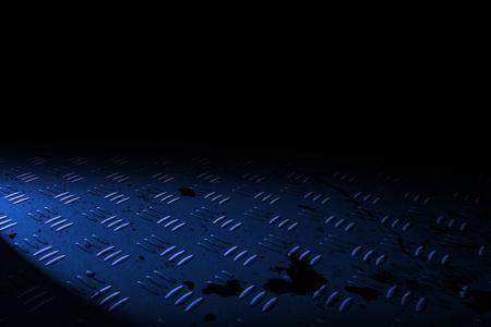 diamondplate: blue diamond plate with spot lighting and drop of paint on black shadow background.