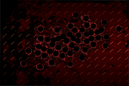 diamond plate: shotgun bullet hole on red diamond plate. metal background.