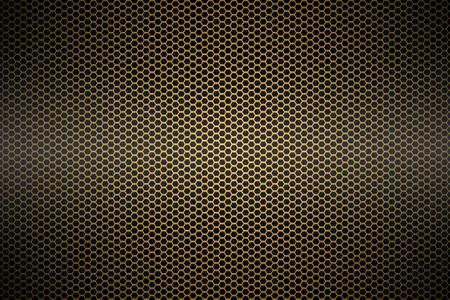 grunge banner: gold metallic mesh background texture. Stock Photo