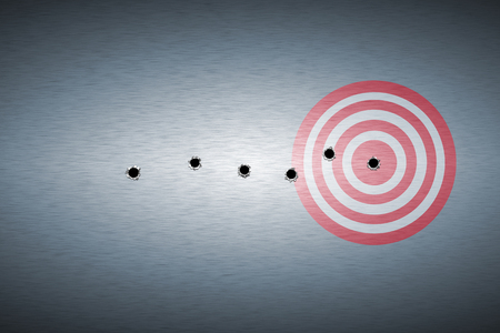 bullet hole: bullet hole on target. metal background. concept design. Stock Photo