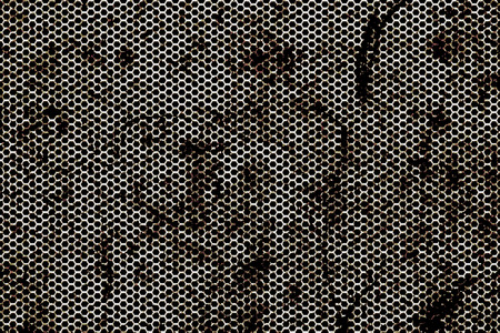 rust: black, silver and rust metallic mesh background texture.