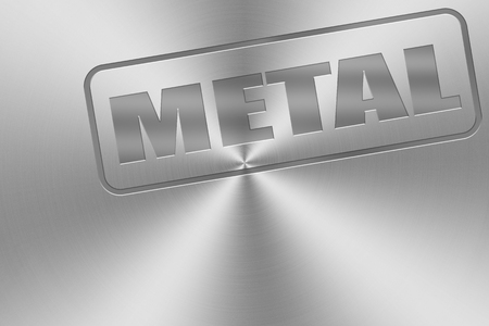 inlay: metal word inlay on chrome aluminium texture for metal music theme. Stock Photo
