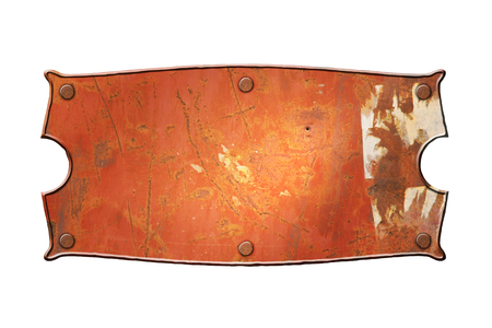 metal sign: old rusty metal sign board on isolated white background.