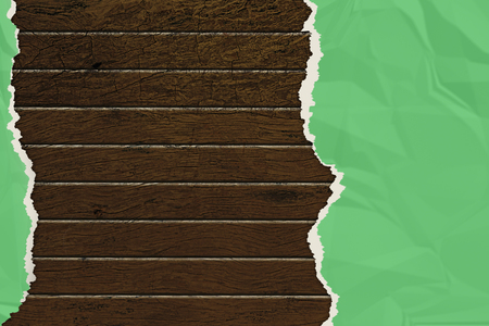 wrinkled: green wrinkled paper ripped on the wooden board. vintage style for your business. 3d illustration .