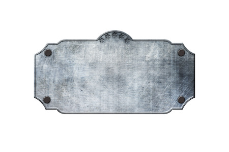 old metal: old metal sign board on isolated white background. western style. 3d illustration. Stock Photo