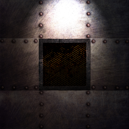 durty: grunge metal plate and grid window on spotlight. 3d illustration. background and texture.