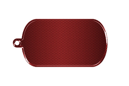 3d carbon: red carbon fiber dog tag on isolated white background. 3d illustration. Stock Photo