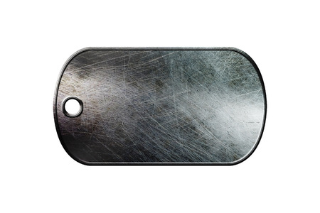 dog tag: old metal dog tag on isolated white background.