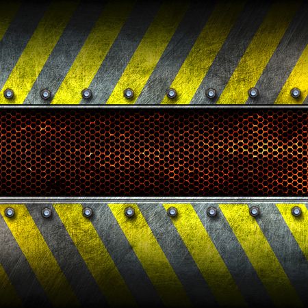 mesh texture: grunge metal and rust mesh with yellow painted. 3d illustration. background and texture. Stock Photo