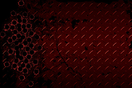 bullet hole: shotgun bullet hole on red diamond plate. metal background.