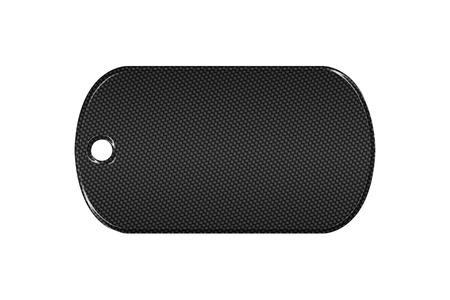 3d carbon: black carbon fiber dog tag on isolated white background. 3d illustration. Stock Photo