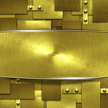 brass plate: shiny gold fix wall and signboard. gold background and texture. 3d illustration.