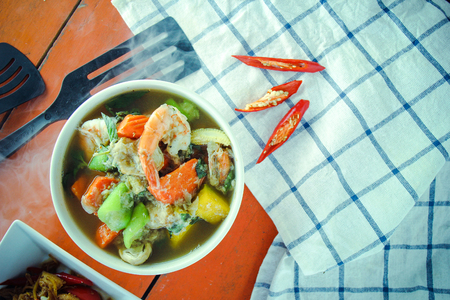 garnish: thai curry and garnish on the table. thai food.