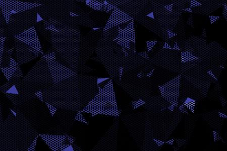 black metallic background: black and blue metallic mesh background texture. Stock Photo