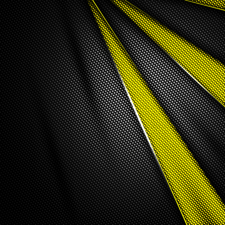 yellow and black carbon fiber background. 3d illustration material design. racing style. Banque d'images