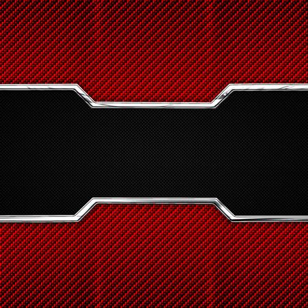 red, black carbon fiber and chromium frame. material design. 3d illustration.
