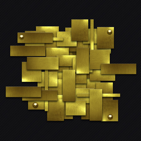 3d carbon: shiny gold fix wall on black carbon fiber. gold background and texture. 3d illustration.