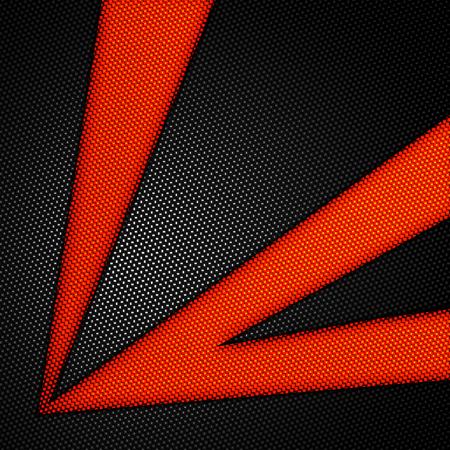 orange background abstract: orange and black carbon fiber background. 3d illustration material design. racing style.
